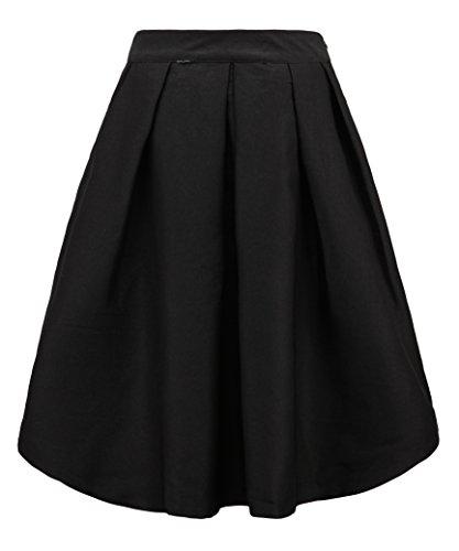 FACE N FACE Women's High Waisted A line Street Skirt Skater Pleated Full Midi Skirt