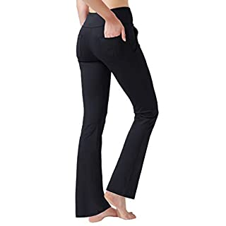 Haining Women's High Waisted Boot Cut Yoga Pants 4 Pockets Workout Pants Tummy Control Women Bootleg Work Pants Dress Pants (Black,L)