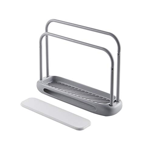 Flurries Towel Stand Hanger Plastic Rag Shelf 2 Teir Holder Multi-Function Diatom mud Kitchen Rack Wipes Cloths Dishcloth Cleaning Cloth Drying Rags Organizer Bathroom mesa Storage Holder (Gray)