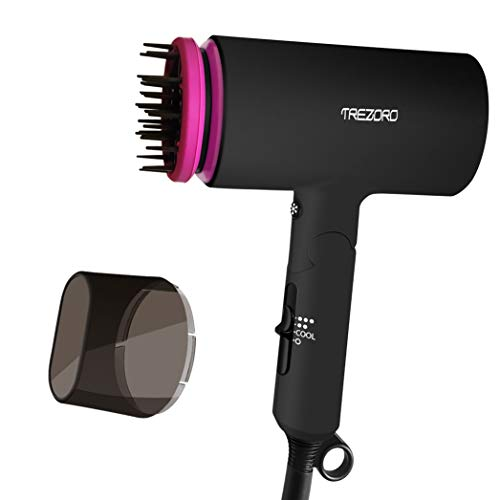 Professional Ionic Potable Folding Hair Dryer, Best 1500W Ceramic Tourmaline Blow Dryer with comb attachment, Compact Small Size Lightweight for Travel, Quiet Mini Hairdryer – Deluxe Soft Touch Body ()