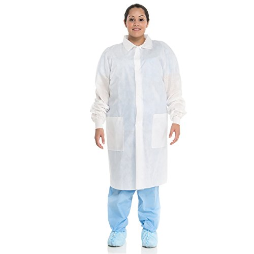 - Kimtech A8 Certified Lab Coats with Knit Cuffs (10122), Protective 3-Layer SMS Fabric, Knit Cuffs, Mid-Calf Length, Unisex, White, Large, 25 / Case