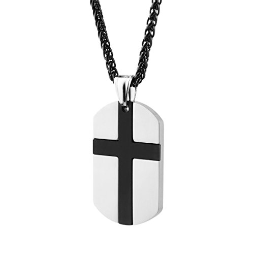 Cross Link Jewelry (HZMAN Isaiah 41:10 Jewelry, Stainless Steel cross Dog Tag Necklace STRENGTH Bible Verse (Black))