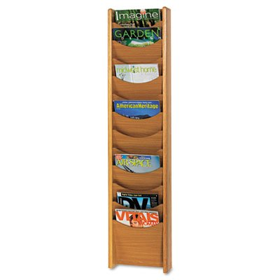 Solid Wood Wall-Mount Literature Display Rack, 11-1/4 x 3-3/4 x 48, Medium Oak, Sold as 1 Each -