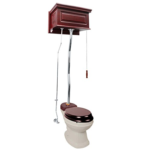 Cherry Wood Overhead High Tank Pull Chain Toilet With Biscuit China Elongated Toilet Bowl And Chrome Z-Pipe