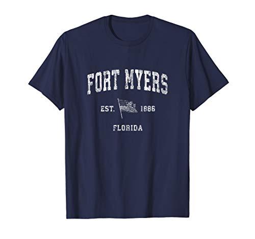 Fort Myers Florida FL T-Shirt Vintage US Flag Sports ()