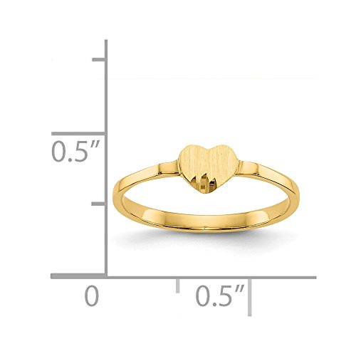 (14k Yellow Gold Engravable Child's Heart Signet Ring)