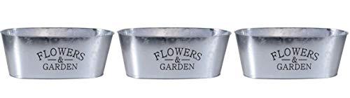 (Set of 3 Oval Galvanized Flower Planters 10.5 Inch Window Farmhouse Tin Rustic Box Raised Lettering Paintable Decor Plant)
