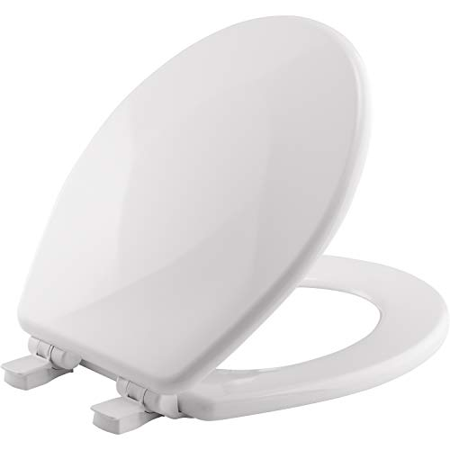 MAYFAIR Sculptured Teardrop Toilet Seat will Slow Close and Never Loosen, ROUND, Durable Enameled Wood,White, 31SLOW (Sculptured Seat)