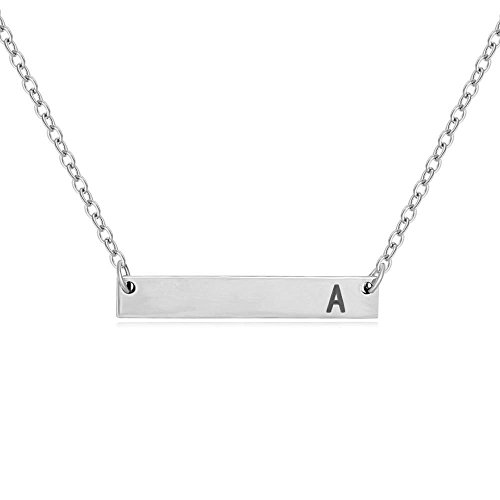 (SENFAI Stainless Steel Initial Bar Necklace Alphabet Charms Pendant Necklace 18