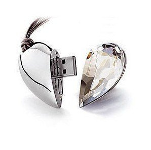 Crystal Asymmetric Heart Shape Jewelry USB Flash Drive with Necklace:8GB(silver) (Crystal Design Heart)