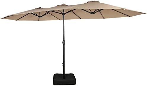 Iwicker 15 Ft Double-Sided Patio Umbrella Outdoor Market Umbrella with Crank, Umbrella Base Included Beige