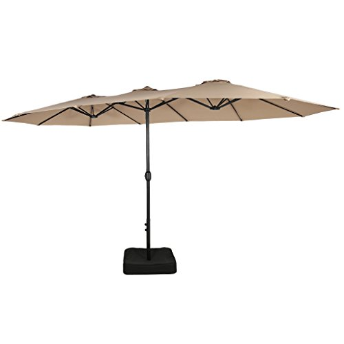 Iwicker 15 Ft Double-Sided Patio Umbrella Outdoor Market Umbrella with Crank, Umbrella Base Included (Beige) ()