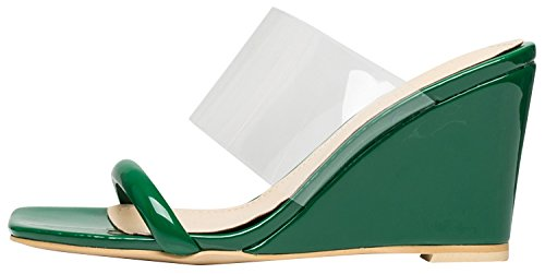 Green Mule Heel Womens Wedge Sandals Transparent AnnaKastle Strap Clear z8gPqw