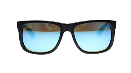Ray Ban Justin Mens Sunglasses RB4165 622/55 Black Rubber Green Mirror Blue 55mm Authentic