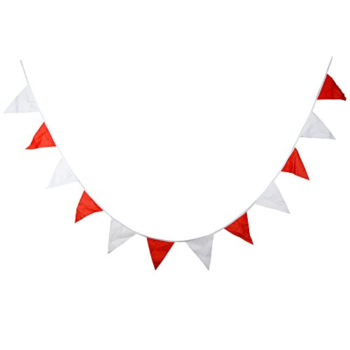 INFEI 3.6M/11.8Ft Solid Multicolored Cotton Fabric Flags Pennant Bunting Banner Garlands for Wedding, Birthday Party, Outdoor, Carnival, Circus & Home Decoration (Red)