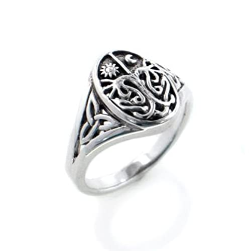 celtic trinity knot tree of life with sun and moon sterling silver ring size 8sizes 345678910111213141516 - Wiccan Wedding Rings