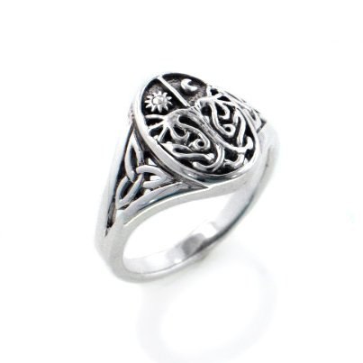 Celtic Trinity Knot Tree of Life with Sun and Moon Sterling Silver Ring Size 5(Sizes 3,4,5,6,7,8,9,10,11,12,13,14,15,16)