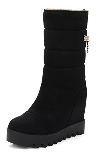 Aisun Womens Warm Rhinestone Round Toe Elevator High Heel Faux Fur Lined Pull On Platform Mid Calf Snow Boots Black jfiXI4v