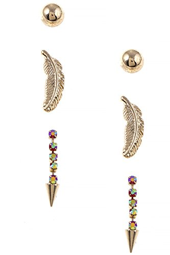 THE JEWEL RACK MIXED FEATHER EARRING SET - Tarina Tarantino Feather