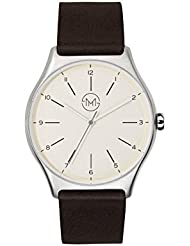 slim made one 03 - Ultra thin watch in silver / brown - unisex