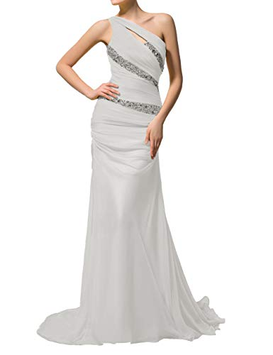 Women's Pleat Chiffon One Shoulder Bridesmaid Dresses Beaded Long Evening Gown Silver US14