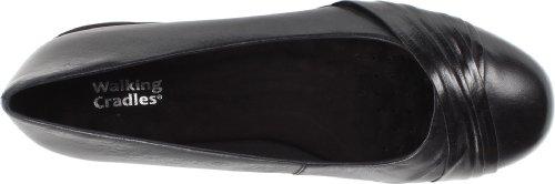 Leather Waxy Walking Flat Black Women's Cradles Flick Soft WPqU0Fq