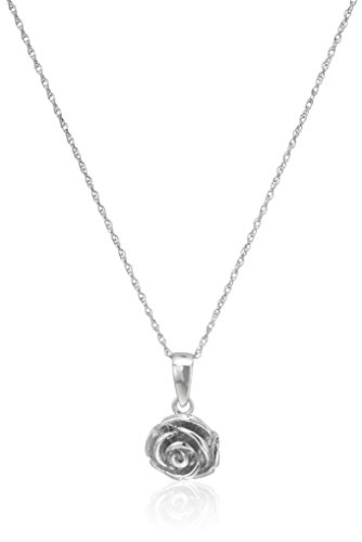 Sterling Silver Rose with Rope Chain Pendant Necklace, 18