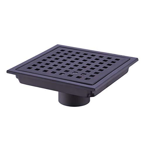 HANEBATH 6 Inch Square Shower Floor Drain with Removal Grate,Matte Black