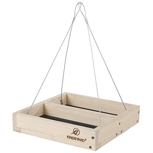 Kingsyard 2 in 1 Hanging Platform Tray Wood Bird Feeder for Wild Birds Outside