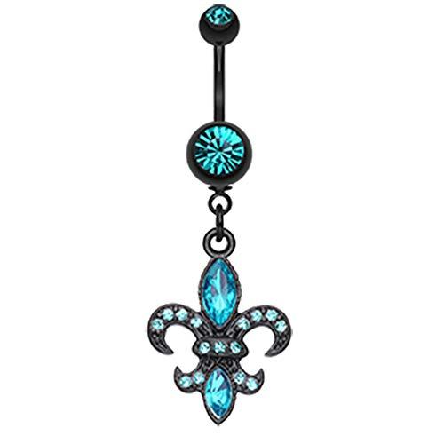 Inspiration Dezigns Belly Button Navel Curved Barbell Ring Blackline Fleur De Lis Gem Sparkle Dangle 14G (Teal) (Ring Blackline Belly Titanium)