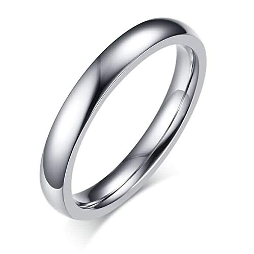 ANAZOZ Stainless Steel Rings for Women Wedding Rings Silver High Polished Round 3MM Size ()