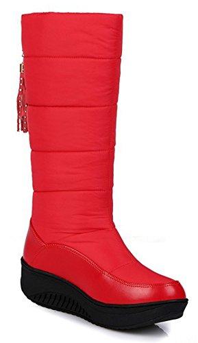 Scarpe Da Donna Sfelz Alla Moda Punta Tonda Nappe Basso Zeppa Tacco Medio Stivali Da Neve Al Polpaccio Rosso