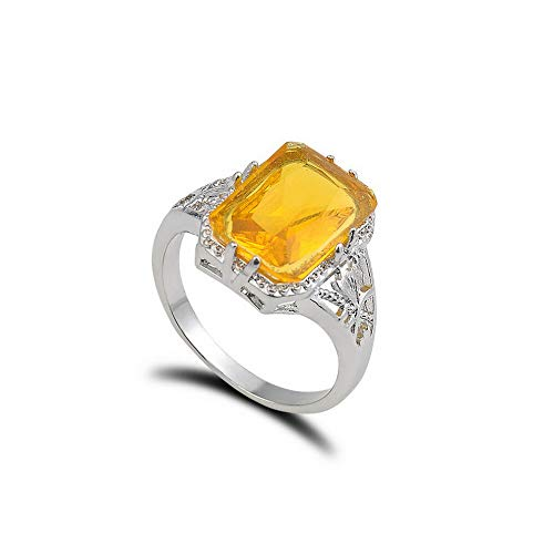 Wausa Luxury Natural Citrine Women Sliver Plated Ring Wedding Engagement Size 6-9 New | Model RNG - 10433 | 9#