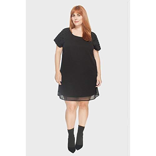 Vestido Detalhes Ombro Plus Size Preto-50
