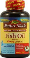3 Pack of Nature Made Fish Oil, One Per Day Burp-less, 120-c