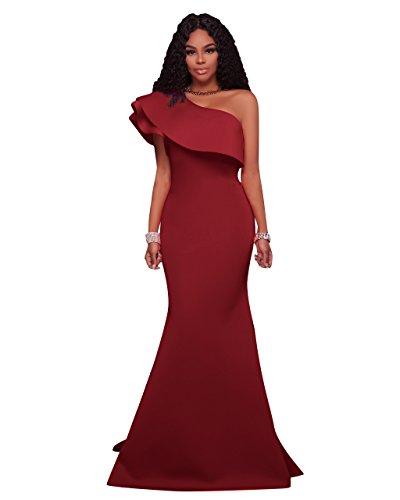 MEI abito Prom Donna spallamento obliqui maxi di Palla Red Wine abito sera lunga amp;S Party elegante qnfW1qSAc