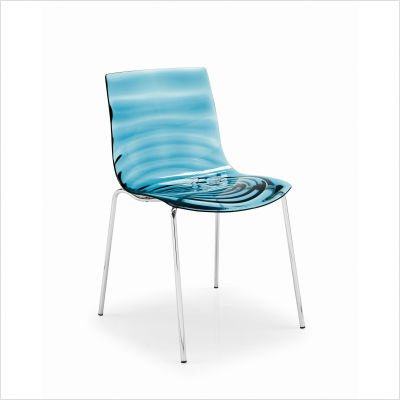 L'eau Chair [Set of 2] Frame: Glossy White Lacquered, Seat: Transparent Smoked - Metal Chair Calligaris