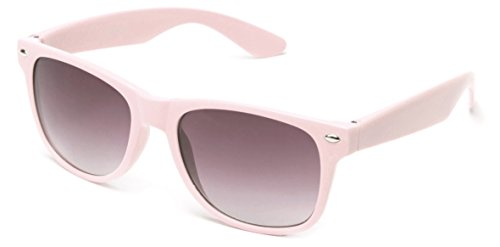 Newbee Fashion - 80's Classic Blue Brothers Wayfarer Styles Vintage Retro Solid Color - Pink Colored Sunglasses