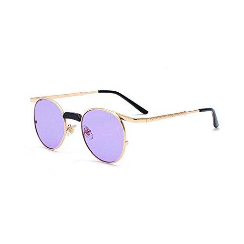 Aoligei Lunettes de soleil en métal verres de Dame Retro rond lunettes de soleil W8NDMl6