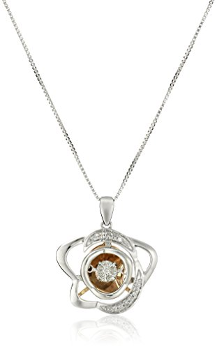 Sterling Silver and 10k Rose Gold Dancing Diamond Star Pendant Necklace (1/10 cttw, J-K Color, I2-I3 Clarity)