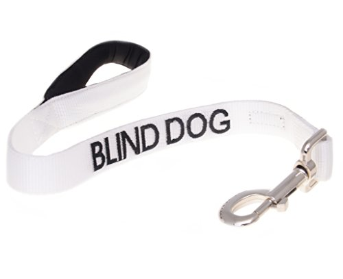 BLIND DOG White Color Coded Alert Warning 2 4 6 Foot Padded Dog Leash (No/Limited Sight) PREVENTS Accidents By Warning Others of Your Dog in Advance! (Short 2 Foot Leash)