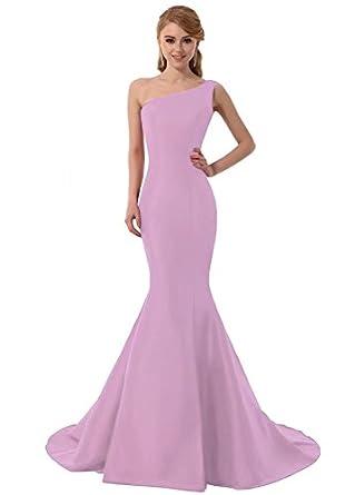 Elegant Mermaid One-Shoulder Evening Prom Dresses Ball Gown ...