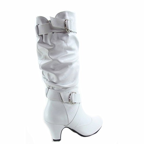 Heel Boots White (Forever Link Maggie-39 Women's Fashion Low Heel Zipper Slouchy Mid-Calf Boots Shoes (9, White))