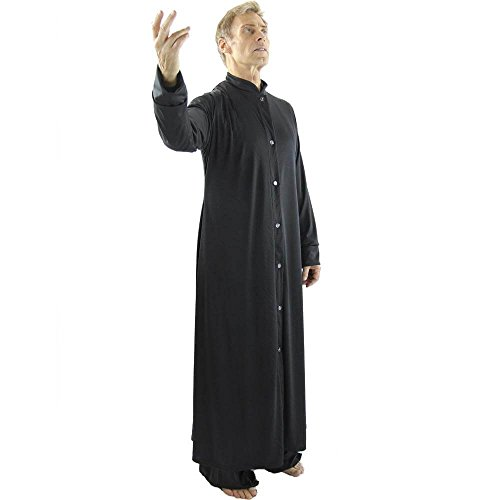 Danzcue Mens Praise Worship Dance Robe with Stand-up Collar, Black, L-XL]()