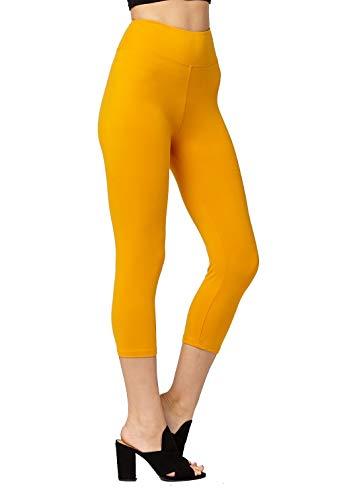 - Super Soft High Waisted Leggings for Women - Capri Mustard - Large/X-Large (12-22) - Plus