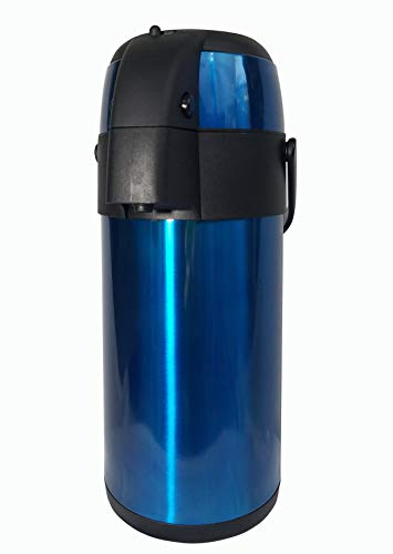 TherMite Airpot Coffee/Beverage Dispenser with Pump. [Midnight Blue], 3 Liter (102 oz), Insulated Double-Walled Stainless Steel Thermal Carafe to Keep Drinks Hot or Cold