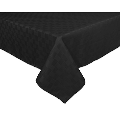 Black Elegance Tablecloth - Bardwil Reflections Spill Proof Oblong / Rectangle Tablecloth, 60-Inch x 120-Inch, Black