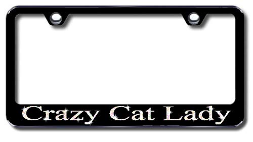 Aluminum Crazy Cat Lady Design License Plate Frame with Swarovski Crystal Bling Diamond (Black License Plate, White Crystals) -  Simply Infinite Productions