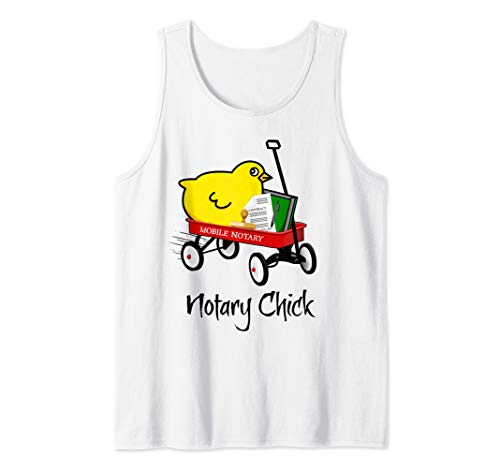 Mobile Notary Chick Riding in Red Wagon with Contract Seal Notarial Journal Tank Top