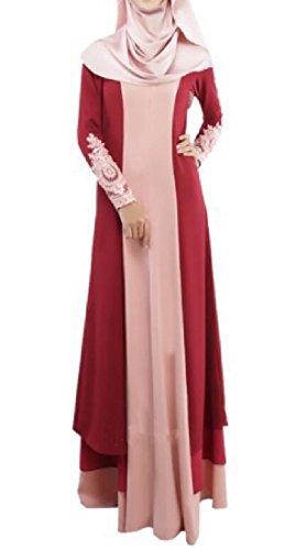 SportsX Womens Stitch Long Sleeve Turkey Muslim Abaya Dress Wine Red XL by SportsX